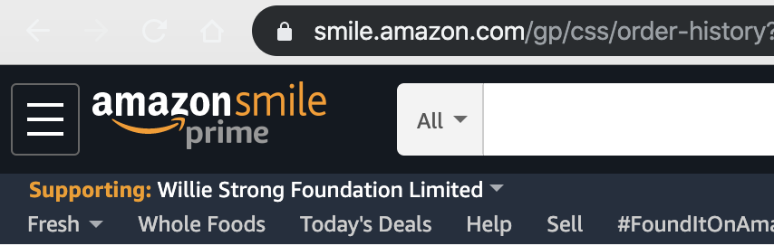 Amazon Smile for #williestrong